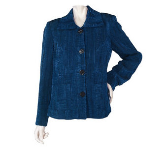 """As Is"" George Simonton Button Front Jacquard Jacket with Front Pockets - A276723"
