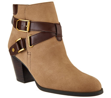 """As Is"" Franco Sarto Suede Boots w/ Strap & Buckle Detail -Delight"