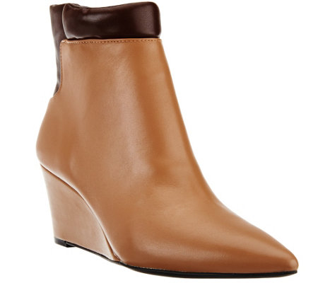 """As Is"" H by Halston Two-Tone Leather Wedge Ankle Boots"