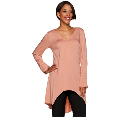 H by Halston Long Sleeve V-Neck Wrap Front Tunic