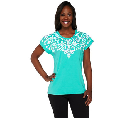 """As Is"" Susan Graver Weekend Cotton Modal Top with Textured Print"