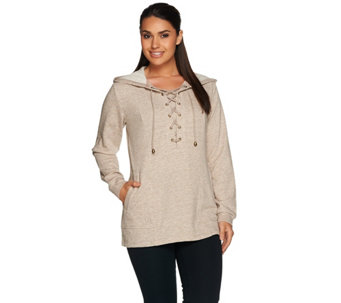 Linea Leisure by Louis Dell'Olio Long Sleeve Lace-Up Hoodie - A279523