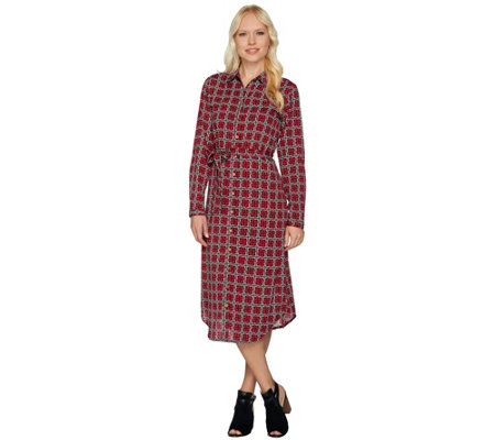 C. Wonder Midi Length Lattice Print Button Front Shirt Dress