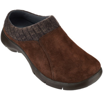 """As Is"" Dansko Suede Stain Resistant Clogs w/Knit Trimmed Detail - Emily - A280523"