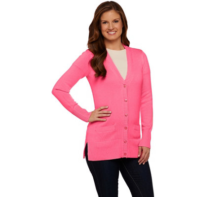 """As Is"" Isaac Mizrahi Live! Essentials Boyfriend Cardigan"