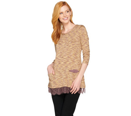 LOGO by Lori Goldstein Space Dye Knit Top with Lace Hem