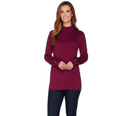 Denim & Co. Long Sleeve Mock Neck Sweater with Grommet Details