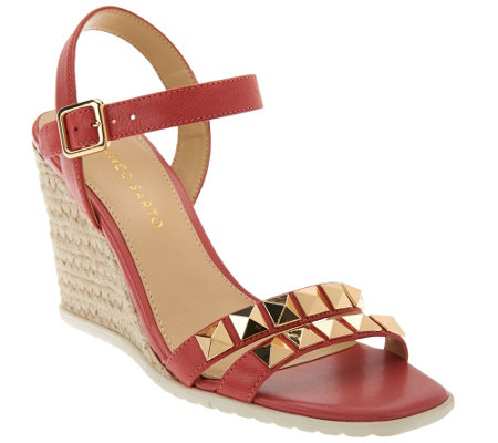 """As Is"" Franco Sarto Leather Espadrille Wedges w/ Stud Detail - Nayla"