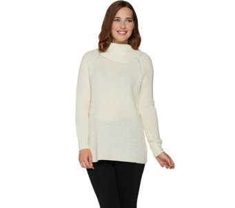 Dennis Basso Split Turtleneck Long Sleeve Knit Sweater - A284823