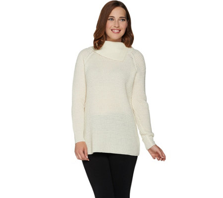 Dennis Basso Split Turtleneck Long Sleeve Knit Sweater