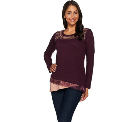LOGO by Lori Goldstein Cotton Slub Knit Top with Lace Angled Hem