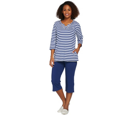 """As Is"" Quacker Factory Striped Grommet 3/4 Sleeve T-shirt & Crop Pant Set"