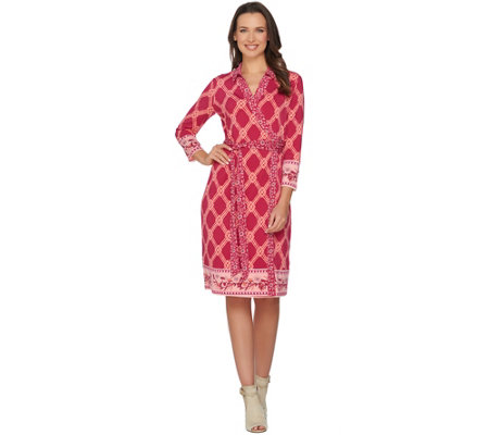 C. Wonder Printed Faux Wrap Dress