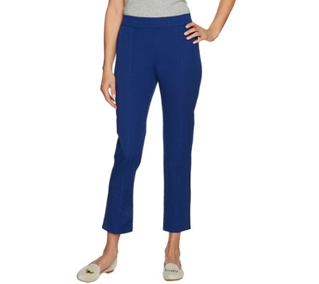 C. Wonder Stretch Twill Pull-On Ankle Pants with Seam Detail