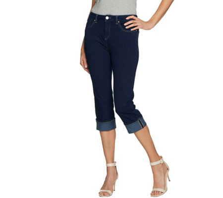 Belle by Kim Gravel Flexibelle Cropped Cuffed Jeans