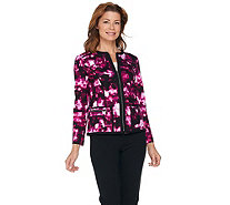 Kelly by Clinton Kelly Printed Ponte Jacket with Contrast Piping - A289823