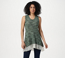 LOGO by Lori Goldstein Space Dye Sweater Tank w/ Embroidered Hem - A290523