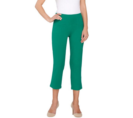 """As Is"" Women with Control Petite Arched Waist Knit Crop Pants"