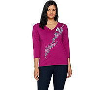 Bob Mackie's Embroidered Song Bird V-Neck Knit Top - A292323
