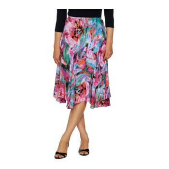 Bob Mackie's Floral Print Pull-On Woven Skirt