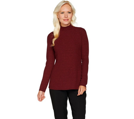 Dennis Basso Mock Neck Rib Knit Top