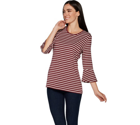 Denim & Co. Round Neck 3/4 Bell Sleeve Striped Top