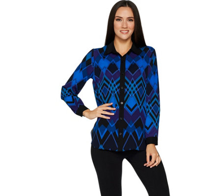 Bob Mackie's Printed Hi-Low Hem Button Front Blouse