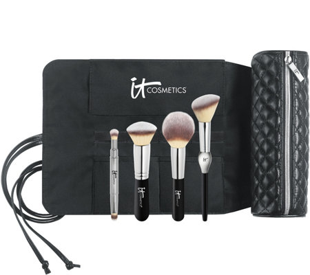 IT Cosmetics Limited Edition Luxe Brush Set w/ Brush Roll Makeup Bag