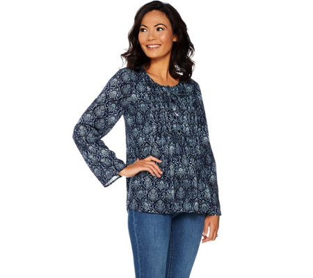 Kelly by Clinton Kelly Printed Woven Top w/ Pleated Front Detail
