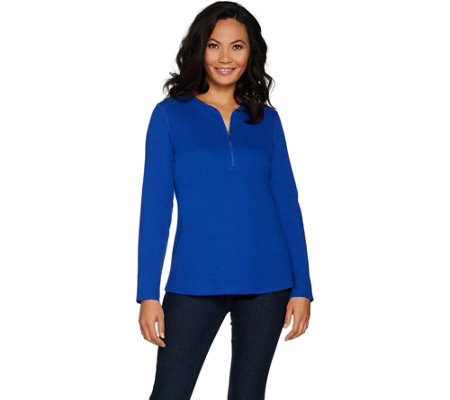 Denim & Co. Essentials Ribbed Half Zip Long Sleeve Top w/ Curved Hem