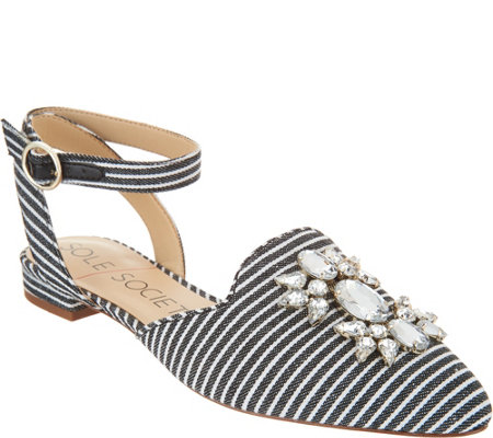 Sole Society Embellished Pointed Toe Flats w/ Strap - Pearla