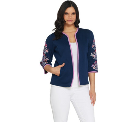 Bob Mackie's Floral Embroidered Sleeve Rib Knit Jacket