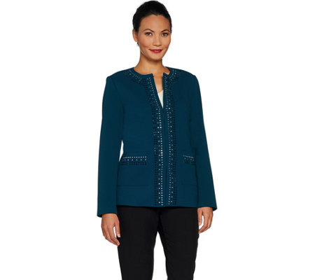 """As Is"" Dennis Basso Embellished Caviar Crepe Knit Jacket"