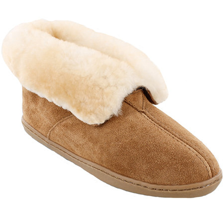 Minnetonka Leather Ankle Boot Slippers - Sheepskin Ankle Boot