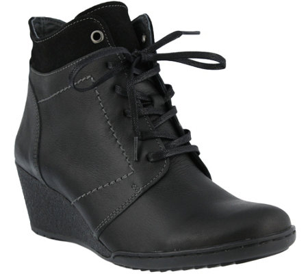 Spring Step Leather Lace-up Booties - Sem