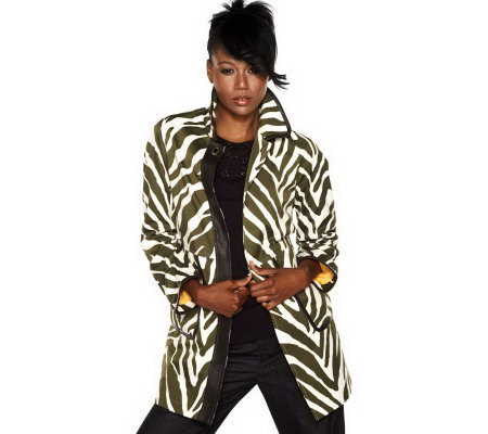 Isaac Mizrahi Live! Animal Printed Button Front Coat