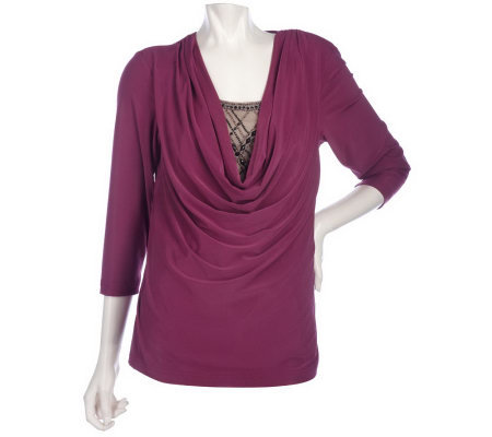 Bob Mackie's Draped Jersey Knit Top w/ Jeweled and Studded Inset