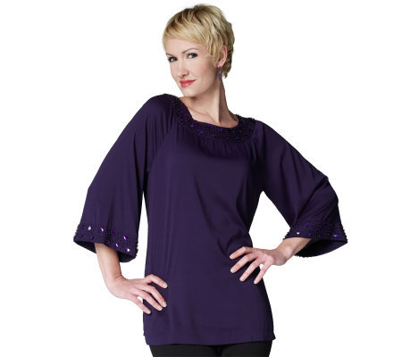 Joan Rivers Bell Sleeve Tunic with Jeweled Neckline