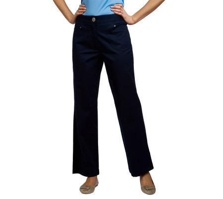 Susan Graver Cotton Twill Wide Leg Pants with Elastic Back