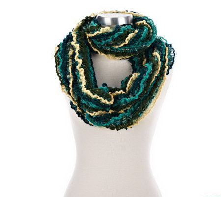 Collection 18 Brushed Feather and Ruffle Infinity Scarf