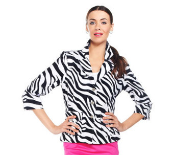 Joan Rivers Joan Rangers Zebra Print Jacket - A230524