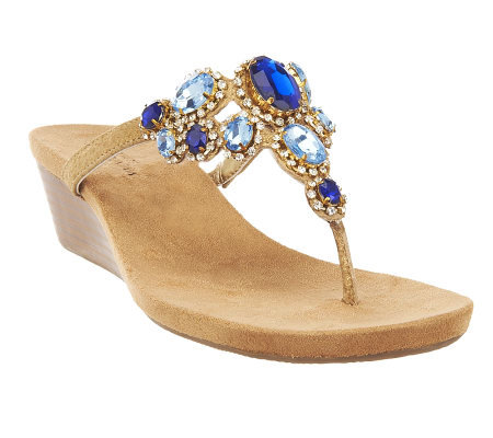 White Mountain Chrysalis Leather Thong Wedge Sandals W