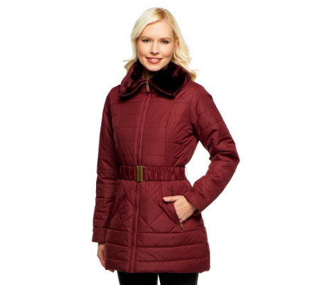 Dennis Basso Puffer Coat with Belt  and Faux Fur Collar