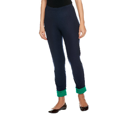 Women with Control Regular Pull-On Slim Leg Pants w/ Contrast Cuff
