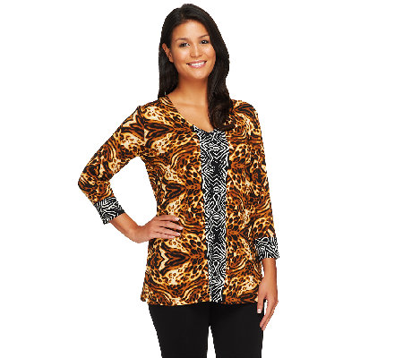 Susan Graver Liquid Knit V-Neck 3/4 Sleeve Printed Tunic