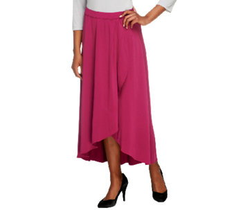 Bob Mackie's Jersey Knit Pull-On Faux Wrap Skirt - A252324