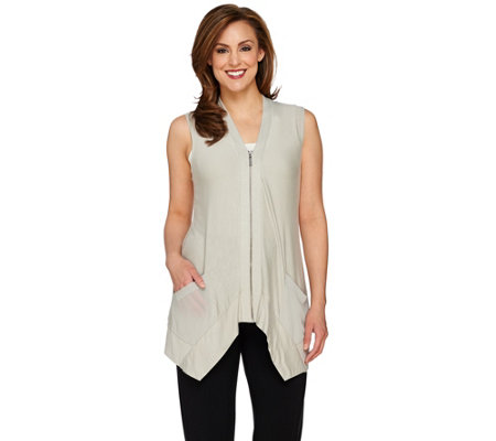 LOGO by Lori Goldstein Slub Knit Vest with Zip Front Closure