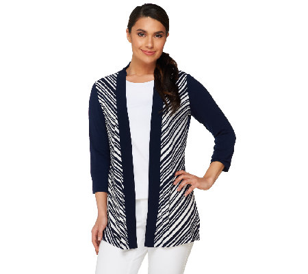 Susan Graver Striped Liquid Knit 3/4 Sleeve Cardigan