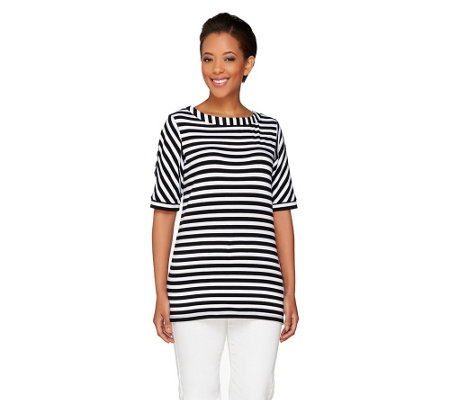 Susan Graver Weekend Striped Cotton Modal Elbow Sleeve Top