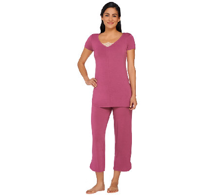 LOGO Luna by Lori Goldstein Lace Trim Top and Pants Pajama Set